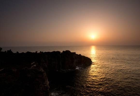 海,太阳,日出,岩石
