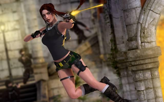 渲染,坟茔入侵者,射击,跳,废墟,枪,女孩,Lara Croft