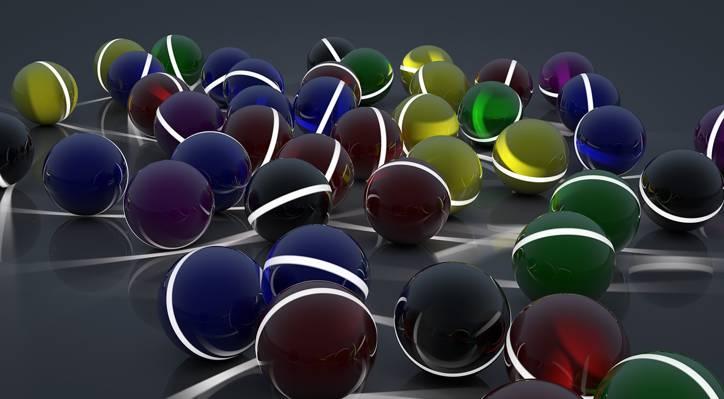 表面,反射,艺术,不同,地带,线,球,球