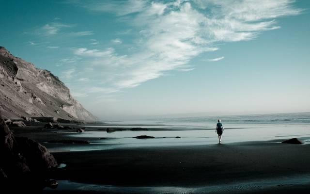 石,海,地平线,云,海洋,天空,砂,SURF,斜坡,女孩,海岸,岸,山
