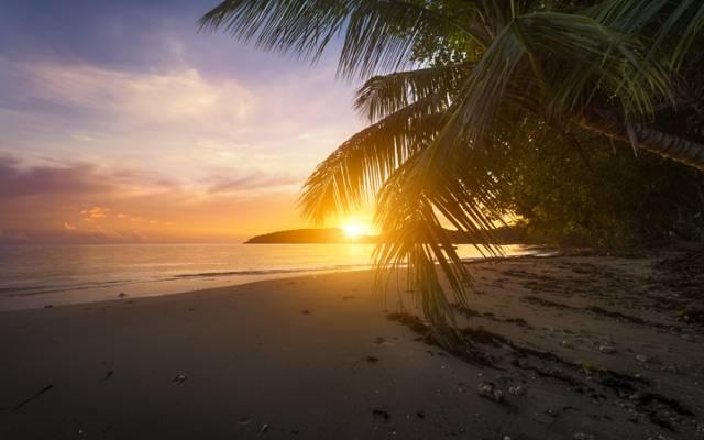 日落,海洋,沙滩,印度洋,印度洋,马埃岛,马埃岛,Anse Boileau,...