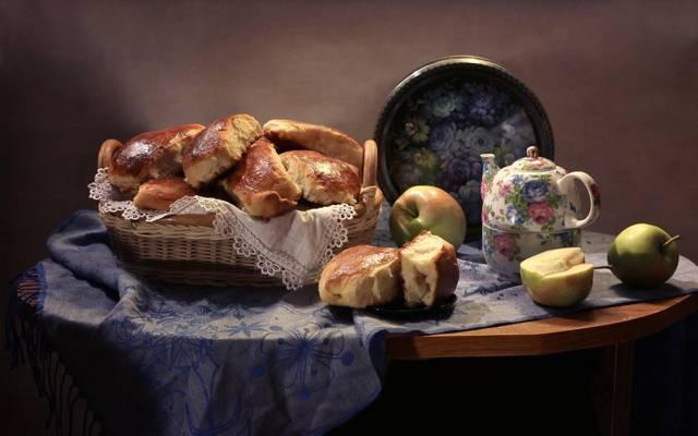 水壶,静物,披肩,蛋糕,苹果,托盘