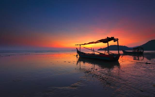 海洋,黎明,小船,风景