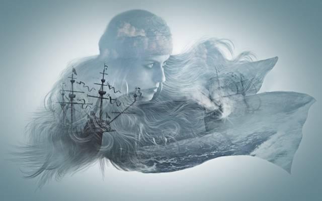 海,船,女孩,安装