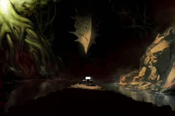 电脑,艺术,树木,脸,龙,水,根,洞穴,怪物