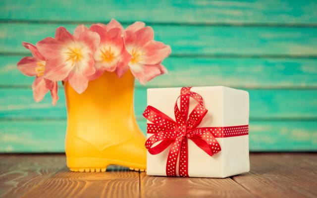 3月8日,礼物,假期,磁带,郁金香粉红色,鲜花