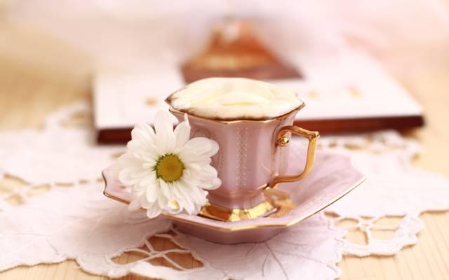 鲜花,早上,盅,花束,咖啡,静物,早餐,夏天,篮子