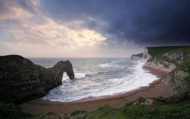 海,波浪,拱,岩石,海滩
