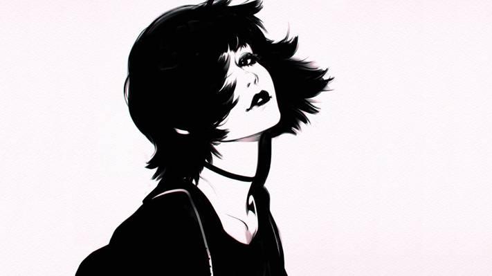 刘海,黑色和白色,一个女孩的肖像,脖子,灰色的背景,嘴唇,理发,伊利亚Kuvshinov