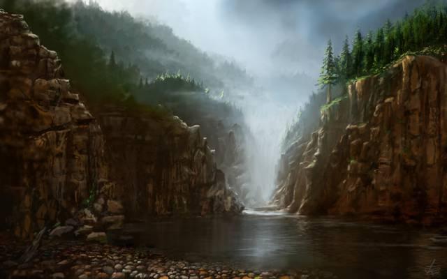 艺术,自然,雾,绘画,水,视图,岩石,石头