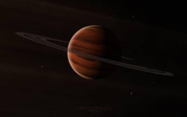卫星,Epsilon eridani b,星星,环,星球,气体巨人