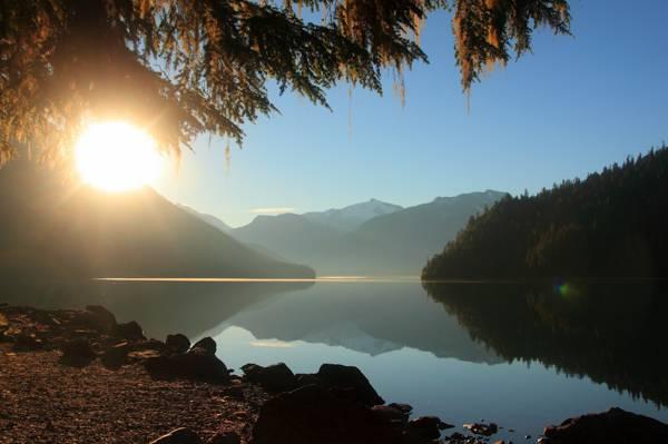 早上,湖,光线,山,太阳,森林
