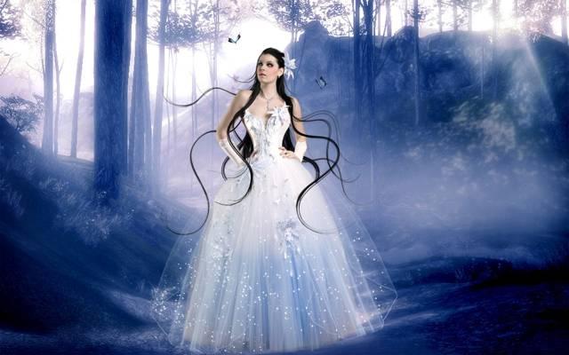 BRUNETTE,连衣裙,阴影,蝴蝶,衣服,灯,射线,树,女孩,头发,森林