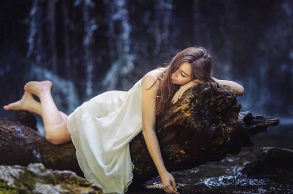 树,逗留,女孩,森林,梦幻般的日子,腿,衣服