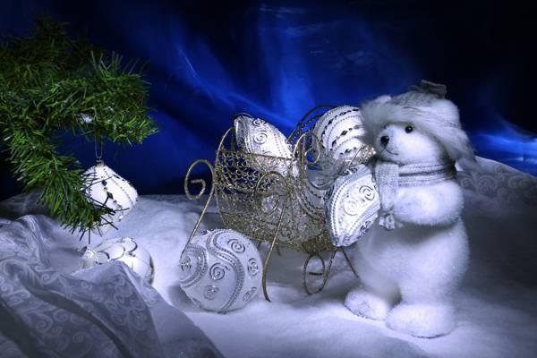 雪橇,雪,树,玩具,新年,新年,球,圣诞节,熊