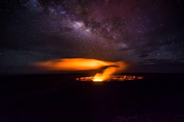 火山口,秘密,银河系,熔岩,星星,火