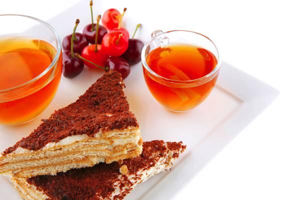 樱桃,茶,蛋糕,杯,饮料,托盘