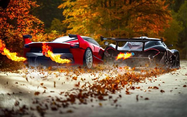 迈凯轮,红色,火,黑色,法拉利,排气,超级跑车,叶子,FXX K
