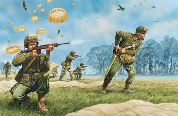 部队,武器,艺术,士兵,树木,装备,空降,人物,降落伞,草,飞机,美国