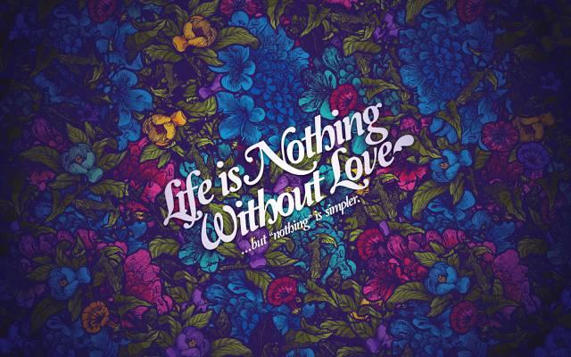风格,生活是没有爱,花纹,花朵,题词