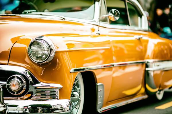 经典的黄色轿跑车,旧金山高清壁纸