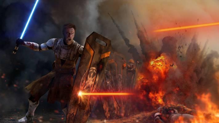 扑灭,欧比旺克诺比,绝地,光剑,和平守卫,星球大战,盾牌,战争,由thetechromancer
