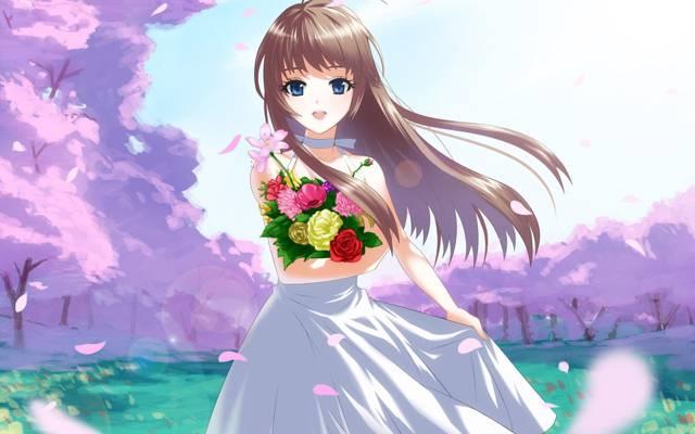 女孩,蓝色的眼睛,花束,风,微笑,林间空地,樱花春天,花瓣,裙,开花,长长的头发