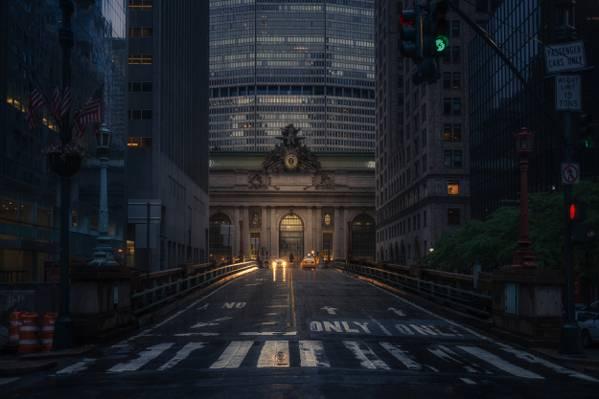 中央车站,出租车,纽约,街道,中央车站