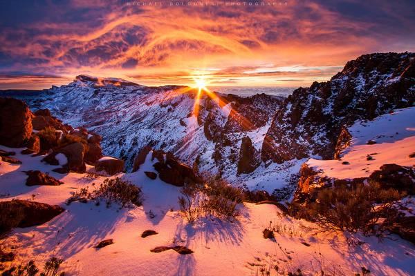 在金黄时光高清壁纸的白雪皑皑的山