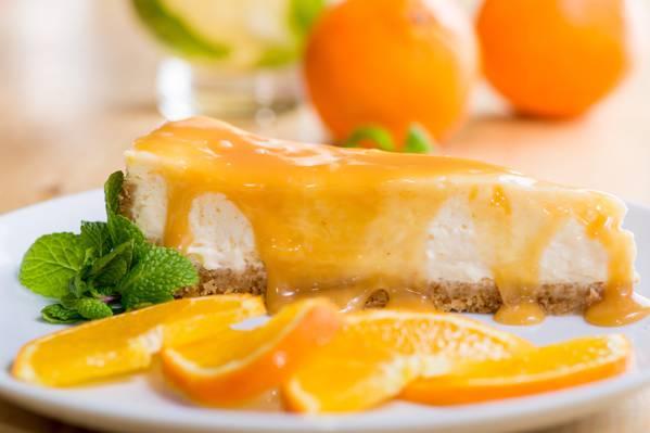 切片,蛋糕,橙糖浆,甜点,芝士蛋糕,薄荷