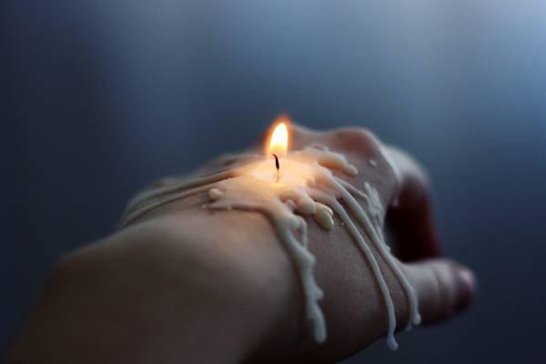 蜡烛,蜡,手,画笔,灯芯,火
