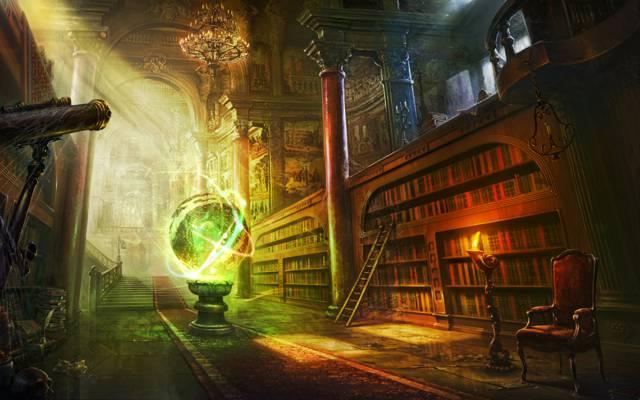 房间,书籍,梯子,魔术,艺术,货架,图书馆,领域,望远镜,球,蜡烛,网站,椅子