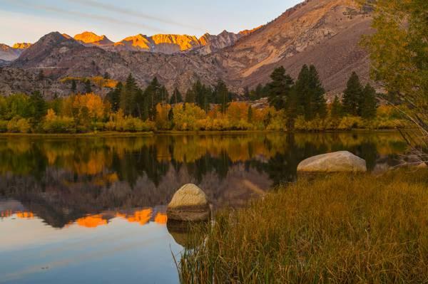 湖,反射,山,树木,CA,石头,美国