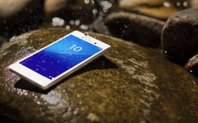 智能手机,索尼,滴,Xperia,Aqua,石,白,Android,水