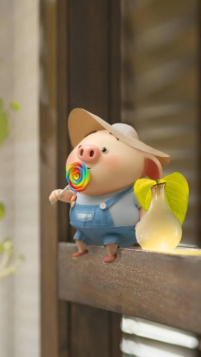 吃棒棒糖的呆萌可爱猪小屁