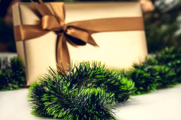 新年,绿色,盒子,礼物,金属丝,雨,弓,丝带,圣诞节,风景