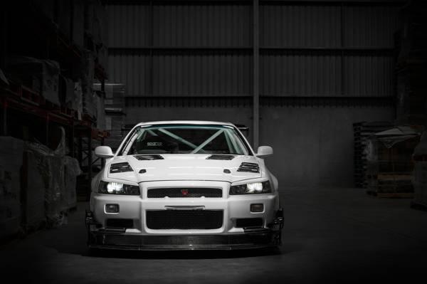 白色,GT-R,R34,日产,天际线,黑暗的仓库