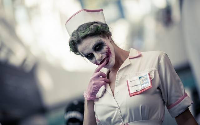 肖像,护士小丑,背景