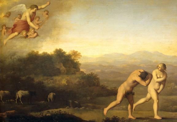 石油,神话,驱逐出境,Cornelis van Poelenburg,图片,树木