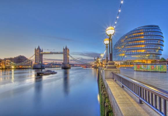 伦敦,塔桥,英格兰,伦敦,泰晤士河,泰晤士河,市政厅,塔桥,灯,长廊,河,...