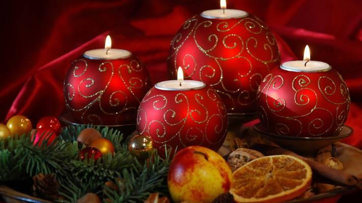节日,蜡烛,圣诞节,新年,针,苹果,新年,橙色,球,圣诞节
