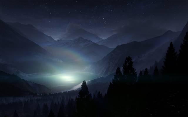 彩虹,风景,光,山,自然,雾,树,湖,夜,剪影,阴影,天空,星星,森林