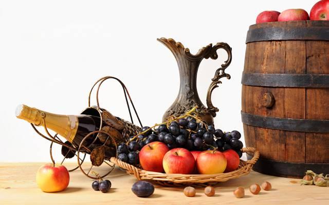 壁纸桶,葡萄,篮子,坚果,水果,苹果,投手,香槟