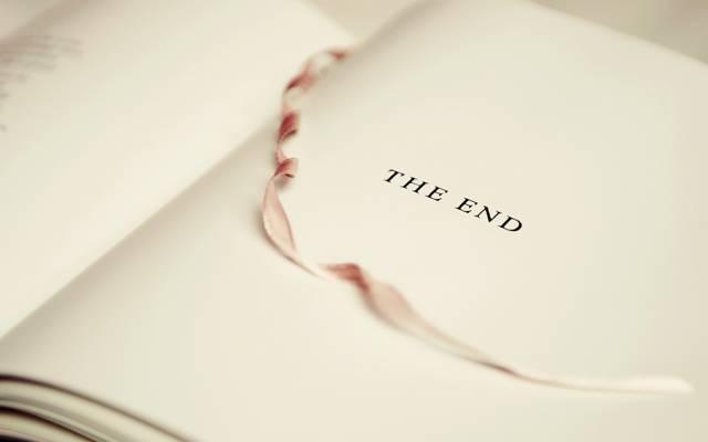 结束,磁带,书,题字