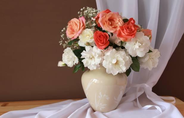 花瓶,玫瑰,花束