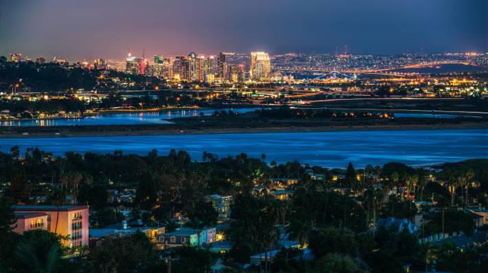 连成一片,桥梁,家,圣地亚哥,灯,晚上,河,美国