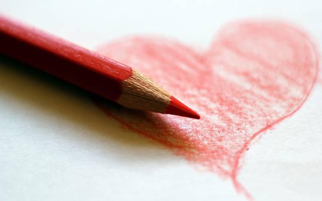 心,背景,铅笔