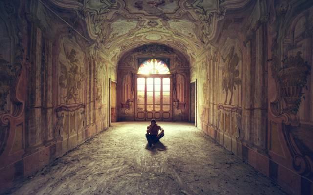 男,阴影,阳光,走廊,门,Windows