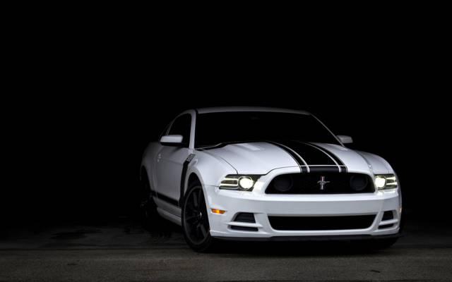 肌肉车,赛车条纹,老板302,白色,野马,白,阴影,福特,肌肉车,野马,福特