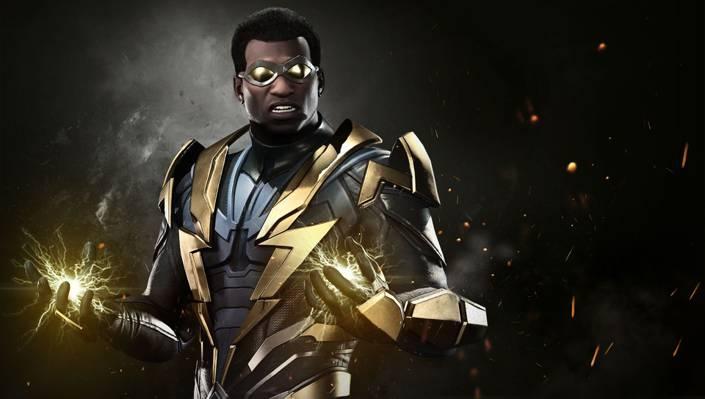 游戏,西装,超级英雄,DC漫画,英雄,火花,DC,不义2,黑色闪电,制服,闪电
